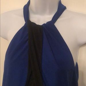 Cache Tops - Blue and Black Sleeveless Blouse